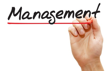 Hand writing Management with red marker, business concept photo
