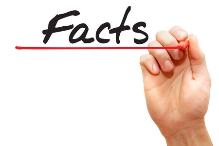 factual: Hand writing Facts with red marker, business concept Stock Photo