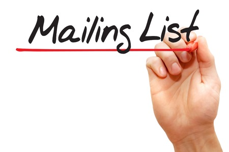 mailing: Hand writing Mailing List with red marker, business concept