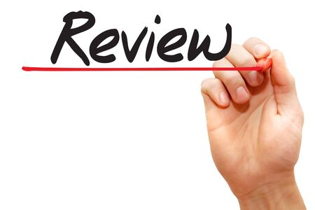 reassessment: Hand writing Review with red marker, business concept