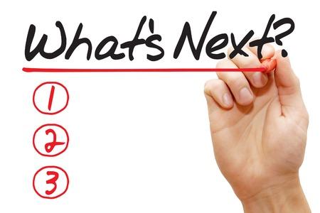 빨간색 마커, 비즈니스 개념을 다음 목록을 무엇 작성하는 손 스톡 콘텐츠