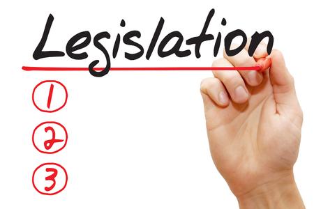 legislating: Hand writing Legislation List with red marker, business concept