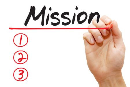 Hand writing Mission List with red marker, business concept photo