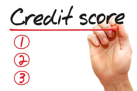 customer records: Hand writing Credit Score List with red marker, business concept
