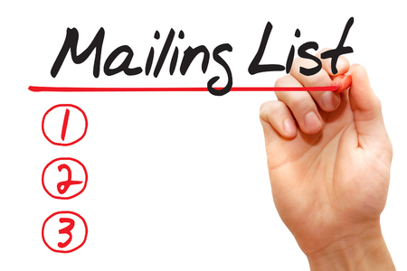 Hand writing Mailing List with red marker, business concept