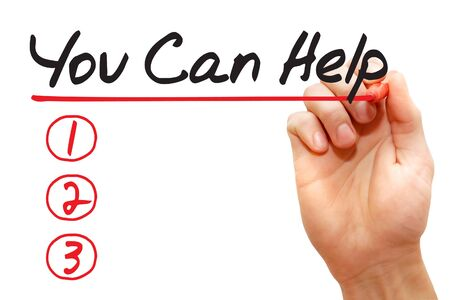 raising cans: Hand writing You Can Help List with red marker, business concept