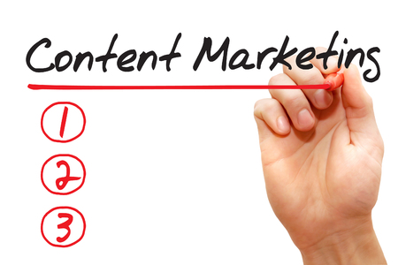 backlink: Hand writing Content Marketing List with red marker, business concept