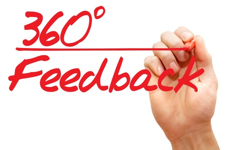 reply: Hand writing 360 Degrees Feedback with red marker, business concept