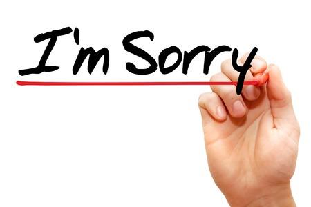 désolé: écrit à la main, je suis désolé avec le marqueur, concept d'entreprise