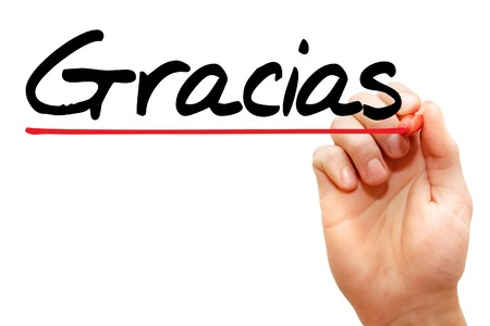 Hand writing Gracias with marker, business concept Stock Photo