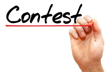 debate win: Hand writing Contest with marker, business concept