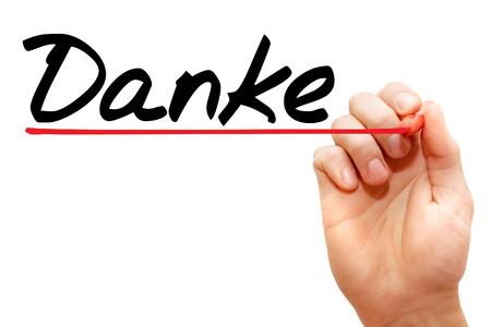 agradecimiento: Escritura de la mano con marcador Danke, concepto de negocio