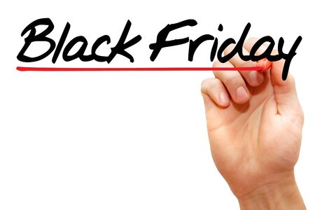 writing black: Hand writing Black Friday with marker, business concept