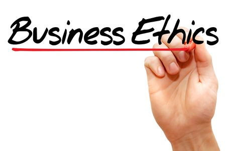 reputable: Hand writing Business Ethics with marker, business concept Stock Photo