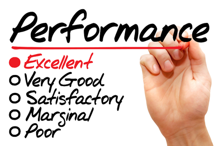 Hand writing Performance evaluation form, business concept