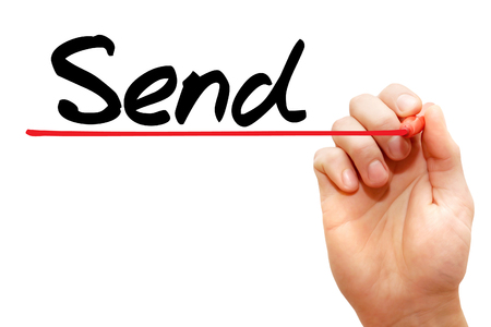 Hand writing Send with marker, business concept photo