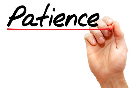 paciencia: Mano Paciencia escrito con marcador, concepto Foto de archivo
