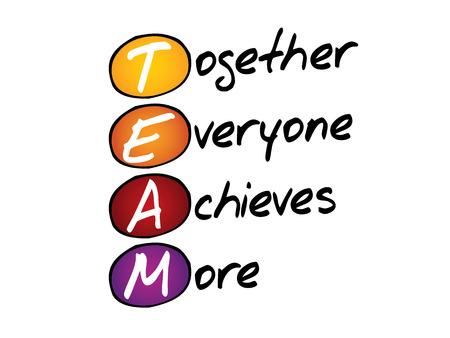 Escritura de la mano Todos Juntos Logramos Más (TEAM), vector de concepto de siglas