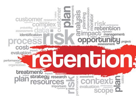 retention: Word Cloud with Retention related tags, vector business concept