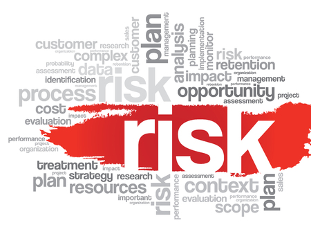 probability: Word Cloud with RISK related tags, vector business concept