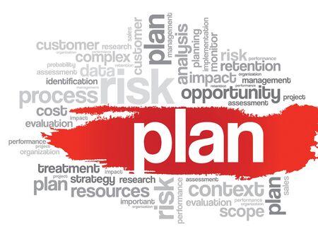 marketer: PLAN word cloud, business concept