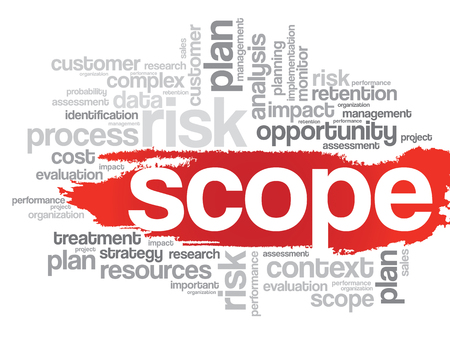 Scope: Word Cloud with SCOPE related tags, vector business concept
