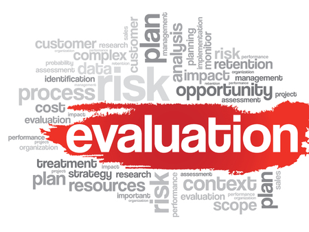 appraise: Evaluation concept in word tag cloud, vector background