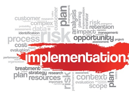 Implementation word cloud, business concept Иллюстрация