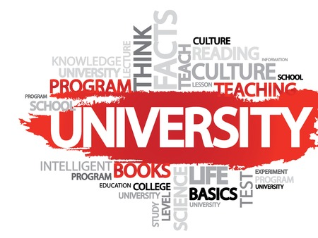 ability to speak: UNIVERSITY. Word business collage, vector background Illustration