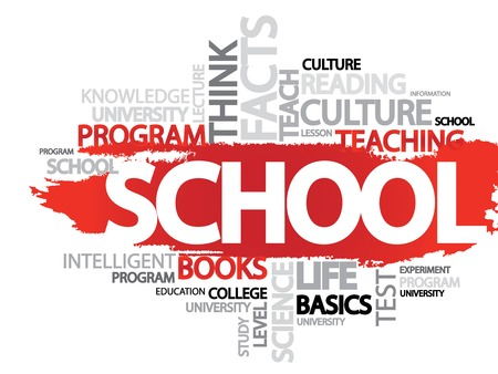 SCHOOL. Word business collage, vector background