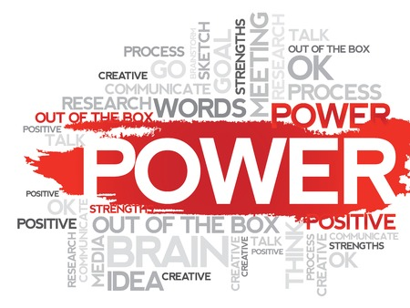 business collage: POWER. Word business collage, vector background