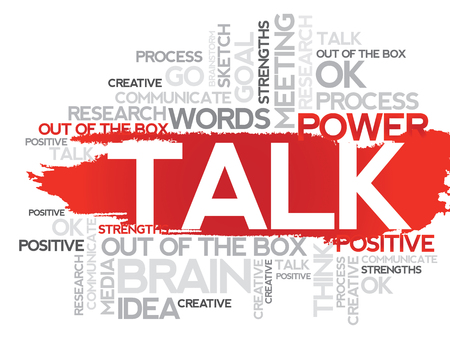 cogitate: TALK. Word business collage, vector background