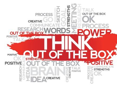 THINK OUT OF THE BOX. Slovo obchodní koláž, vektorové pozadí Ilustrace