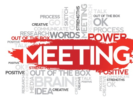 helps: MEETING. Word business collage, vector background