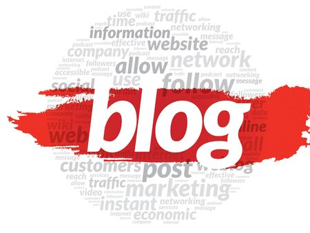 weblog: Blog and social media concept in word tag cloud, vector background