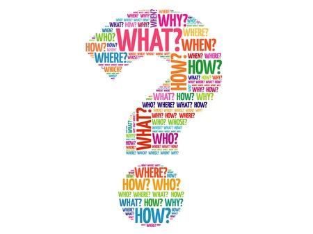 wort: Fragezeichen, Fragewörter Vektor-Konzept