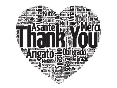 Děkuji v mnoha jazycích, láska srdce vektor koncept