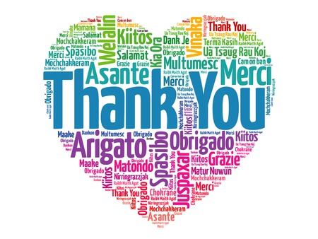 language: Thank You in many languages, love heart vector concept