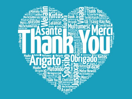 thank you cards: Thank You in many languages, love heart vector concept