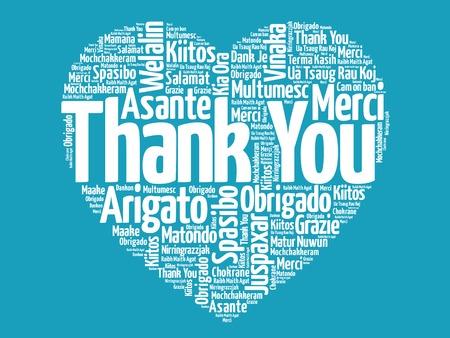 Vielen Dank, dass Sie in vielen Sprachen, Liebe Herz Vektor-Konzept Standard-Bild - 37268306