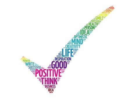 Colorful Pensiero positivo segno di spunta, concetto di business vettore parole, nuvola