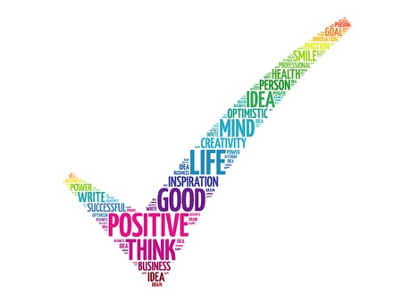 pensando: Colorida marca de verificaci�n El pensamiento positivo, palabras concepto de negocio vector nube Vectores