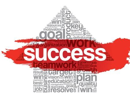 opportunity concept: Success Arrow Words Cloud, business vector concept