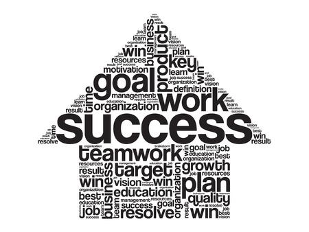 word: Success Arrow Words Cloud, business vector concept