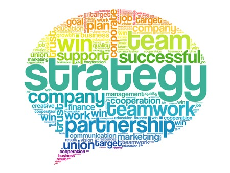 relationsip: Colorful Strategy Think Bubble Words Cloud, business vector concept
