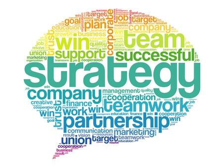 Kleurrijke strategie Denk Bubble woorden Cloud, business vectorconcept