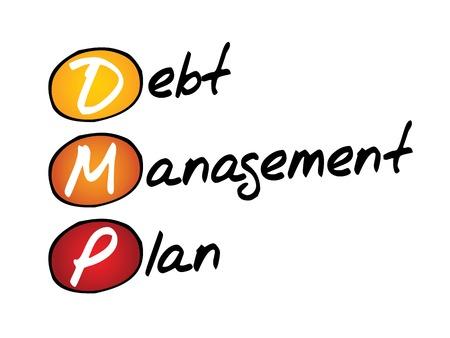 debt management: Debt Management Plan (DMP), business concept acronym