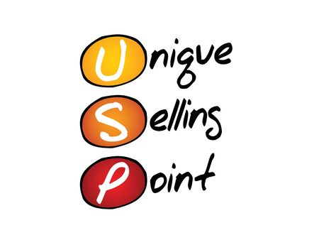 selling points: Unique Selling Point (USP), business concept acronym Illustration