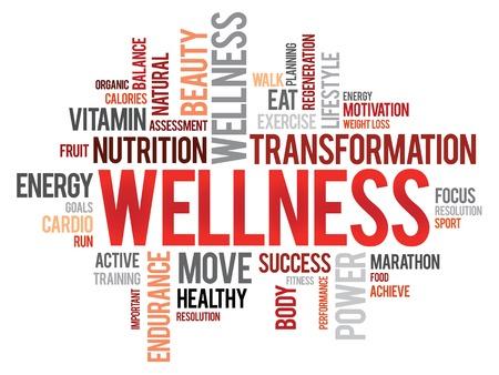 ウェルネス単語の雲、フィットネス、スポーツ、健康の概念  イラスト・ベクター素材