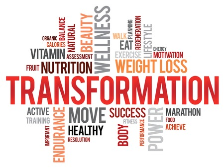 TRANSFORMATION word cloud, fitness, sport, health concept Vector